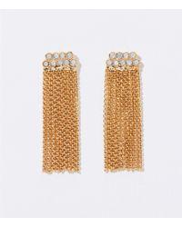 LOFT - Crystal Chain Tassel Earrings - Lyst