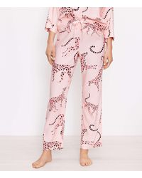 LOFT Cheetah Print Pyjama Trousers - Pink