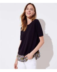 LOFT - Petite Floral Crossover Mixed Media Sweater - Lyst