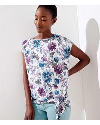 LOFT Floral Mixed Media Tie Hem Top - Blue