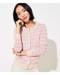LOFT Dot Stripe Signature Cardigan - Pink