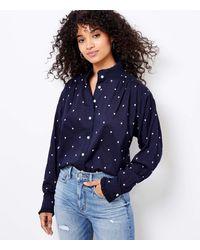 LOFT Heart Embroidered Ruffle Trim Shirt - Blue