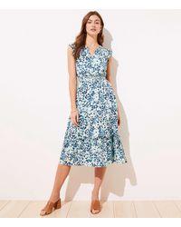 LOFT Petite Shimmer Floral Ruffle Sleeve Flare Dress - Blue