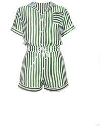 NOT JUST PAJAMA | Silk Stripes Short Pyjama Set - Green