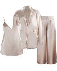 NOT JUST PAJAMA Silk Pyjama 3-piece Set - Multicolour