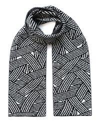 INGMARSON Geometric Striped Wool & Cashmere Scarf - Black