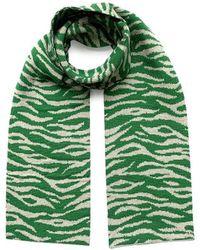 INGMARSON Tiger Pattern Wool & Cashmere Scarf Green