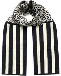 INGMARSON Leopard With Stripes Wool & Cashmere Scarf - Multicolour