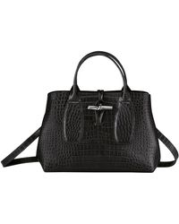 Longchamp Sac porté main M Roseau - Noir