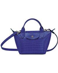 Longchamp Sac porté main XS Le Pliage Cuir - Bleu
