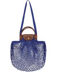 Longchamp Sac porté main Le Pliage filet - Bleu