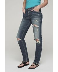 Silver Jeans Co. Tall Silver Kenni Girlfriend Ripped Jeans - Blue
