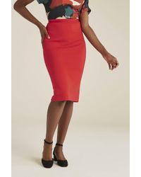 Long Tall Sally Tall Ponte Pencil Skirt - Red