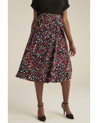 Long Tall Sally Tall Multi Dot Cotton Sateen Fit And Flare Skirt - Multicolour