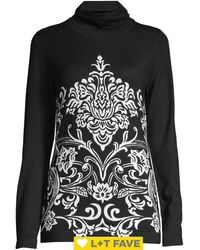 Lord + Taylor Petite Turtleneck Paisley Knit Jumper - Black