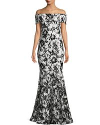 Nicole Bakti - Beaded Floral Lace Off-shoulder Gown - Lyst