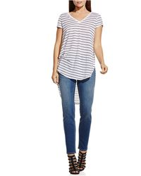 Two By Vince Camuto Striped Hi-lo Shirttail Tee - Blue