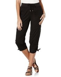 Rafaella Petite Cargo Capri Trousers - Black
