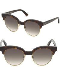 Balenciaga - Tortoise Trim Round Sunglasses - Lyst