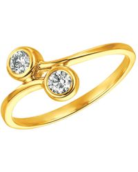 Morris & David Double Diamond And 14k Yellow Gold Ring, 0.25 Tcw - Metallic
