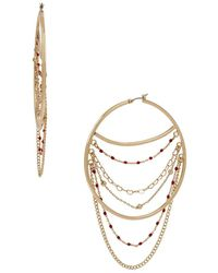 BCBGeneration Goldtone Delicate Chain Swag Hoop Earrings - Metallic
