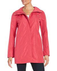 Ellen Tracy Plus Packable Rain Coat - Pink