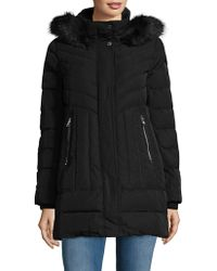 Vince Camuto - Faux Fur-trimmed Zip Front Down Fill Coat - Lyst