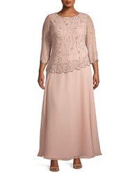 J Kara Plus Asymmetrical Embellished Evening Gown - Pink