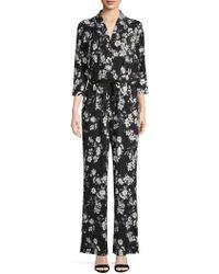 Calvin Klein Three-quarter Floral Tie Waist Jumpsuit - Black