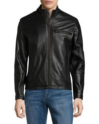 Cole Haan - Full-zip Leather Jacket - Lyst