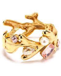 Oscar de la Renta - Faux Pearl And Swarovski Crystal Coral Bracelet - Lyst
