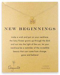 Dogeared Rising Lotus Charm Necklace - Metallic