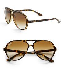 Ray-Ban Iconic Cats 5000 Aviator Sunglasses - Brown
