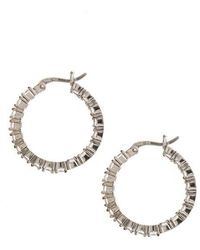 Lord & Taylor - Sterling Silver And Cubic Zirconia Hoop Earrings - Lyst