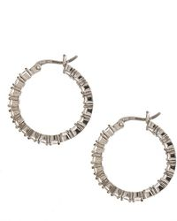 Lord + Taylor Sterling Silver And Cubic Zirconia Hoop Earrings - Metallic