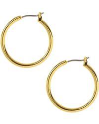 Anne Klein 12 Kt Gold Plated Hoop Earrings - Metallic
