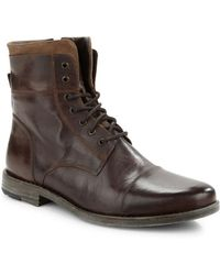 Kenneth Cole Reaction Steer The Wheel Leather Boots - Brown