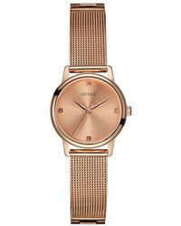 Guess - Wafer Rose Goldtone Mesh Strap Watch, U0532l3 - Lyst