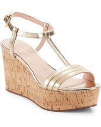 Kate Spade - Tallin Metallic Leather Cork Platform Wedge Sandals - Lyst
