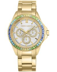 Vince Camuto Goldtone Stainless Steel Multi-color Crystal Chronograph, Vc-5086mtgb - Metallic