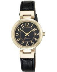 Nine West Goldtone Black Leather Strap Watch, Nw-1908bkbk