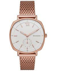Skagen - Rose Goldtone Mesh Bracelet Watch - Lyst