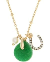 Lonna & Lilly - 4mm Faux Pearl And Semi-precious Reconstituted May Birthstone Charm Necklace - Lyst
