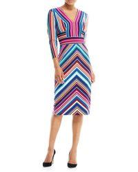 Maggy London - Three-quarter-sleeve Striped Sheath Dress - Lyst