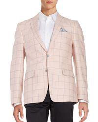 Tallia Orange - Linen Windowpane Sportcoat - Lyst