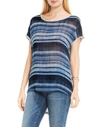 Two By Vince Camuto Media-print Boatneck Top - Gray