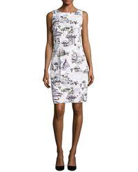 Chetta B - Rome-print Sleeveless Sheath Dress - Lyst