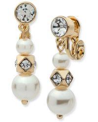 Anne Klein - 6mm Faux Pearl Triple Drop Earrings - Lyst