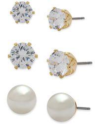 Anne Klein - Pearl Stud Earrings- Set Of 3 - Lyst