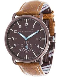 Ike Behar - Stainless Steel & Leather Strap Analog Watch - Lyst